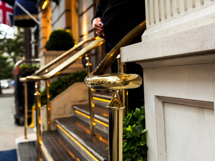 Gold railings at entrance to London hotel