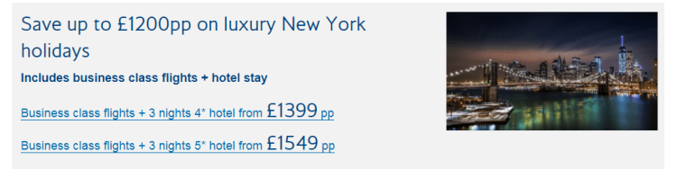 Business class holiday offer to New York