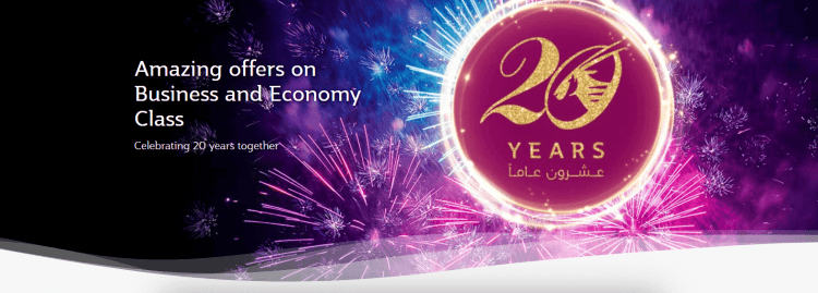 Qatar Airways 20th Anniversary sale
