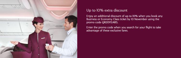 Additional 10% off Qatar Airways sale
