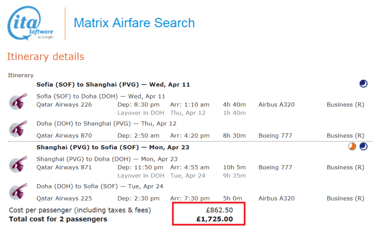 Sofia to Shanghai for £862