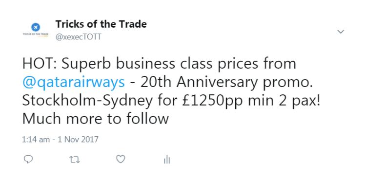 Tweet about Qatar Airways 20th Anniversary sale