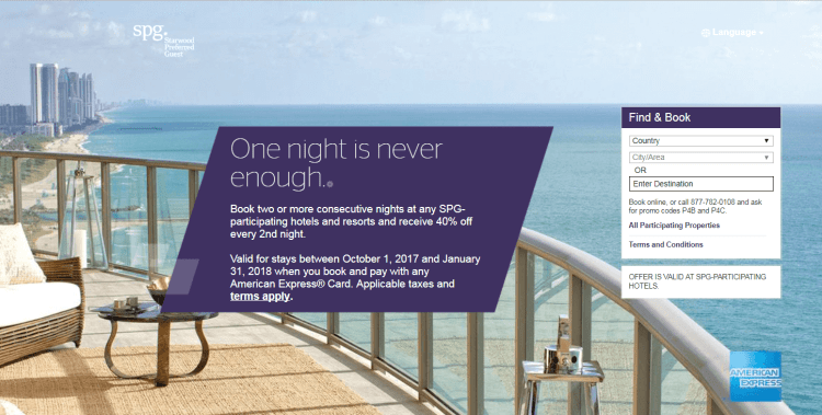 40% off a second night at SPG