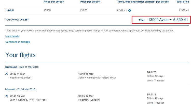 BA 50% less Avios sale NY example 1