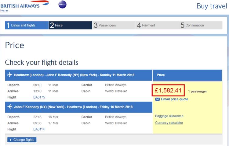 BA 50% less Avios sale NY example 2