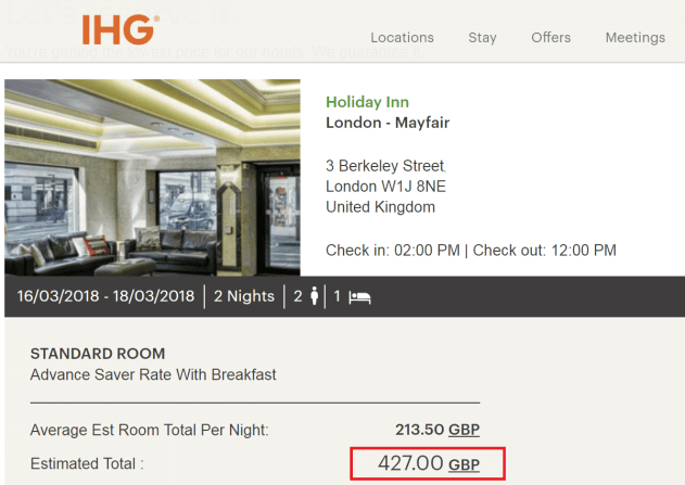Pricing example at the Holiday Inn, Mayfair
