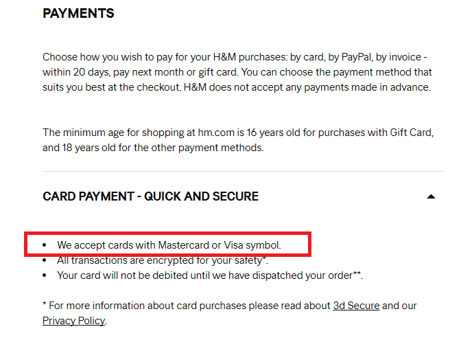 H&M accepted card payment methods