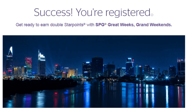 SPG promo Great Weeks, Grand Weekends