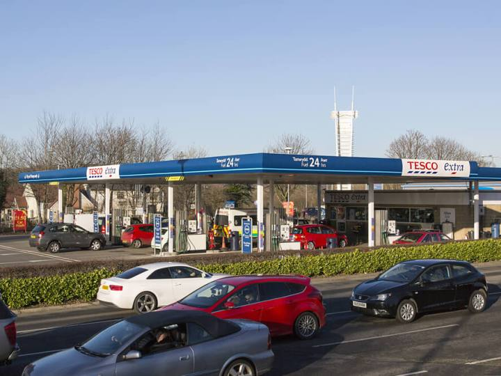 Tesco petrol station forecourt