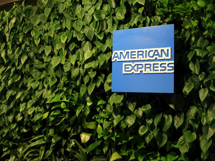 American Express logo on display at Amex Centurion airport lounge