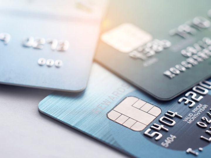 Credit cards spread on surface