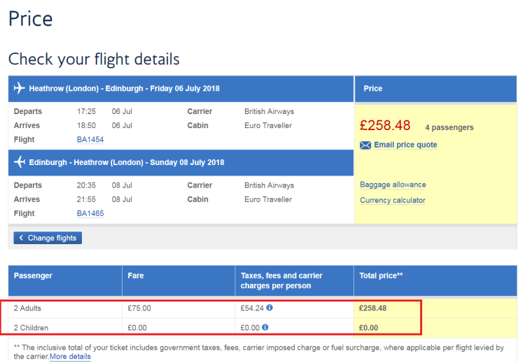 BA Kids fly free pricing screenshot