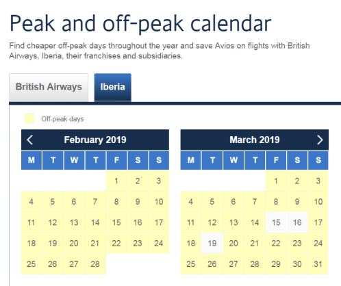 Iberia Peak & off-peak calendar 18