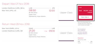 Virgin Upper Class cost