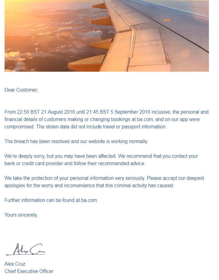 BA data theft email