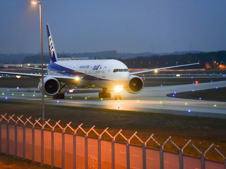 ANA plane landing at Frankfurt, Germany