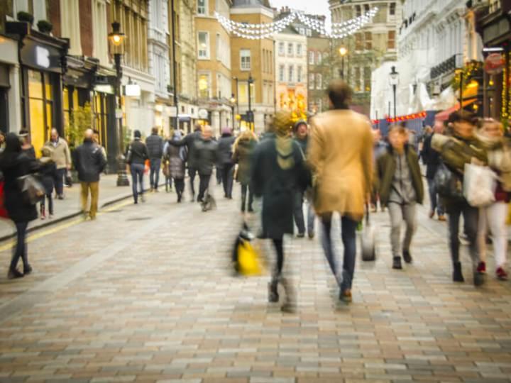 Shoppers on London high street