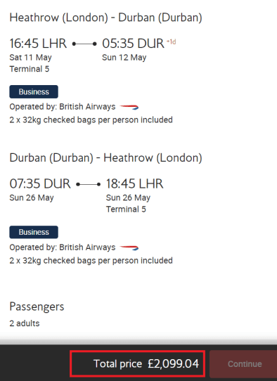 Excellent British Airways 2-4-1 business class deal to