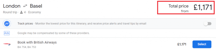 Reward Flight Saver pricing example