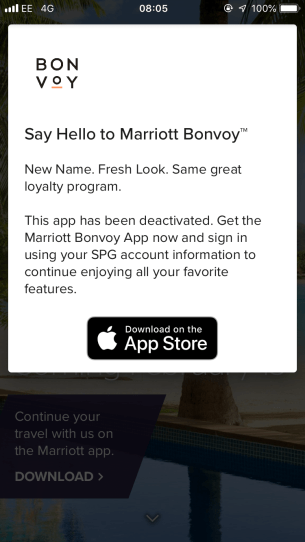 Marriott Bonvoy app prompt