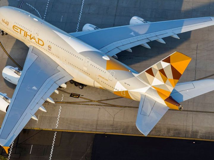 Etihad A380 on tarmac