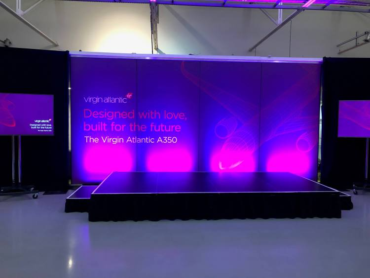 Virgin A350 launch event sign