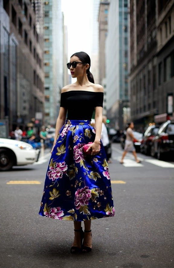 Fashion skirts 2019 with floral print