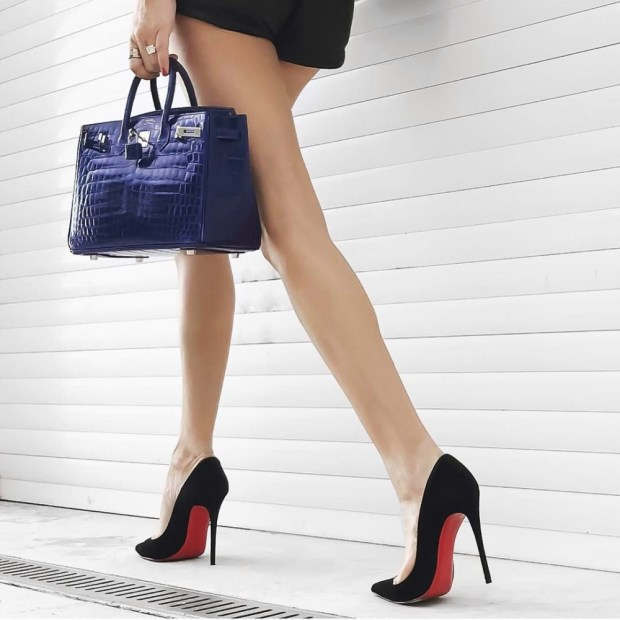 Blue leather women's handbags