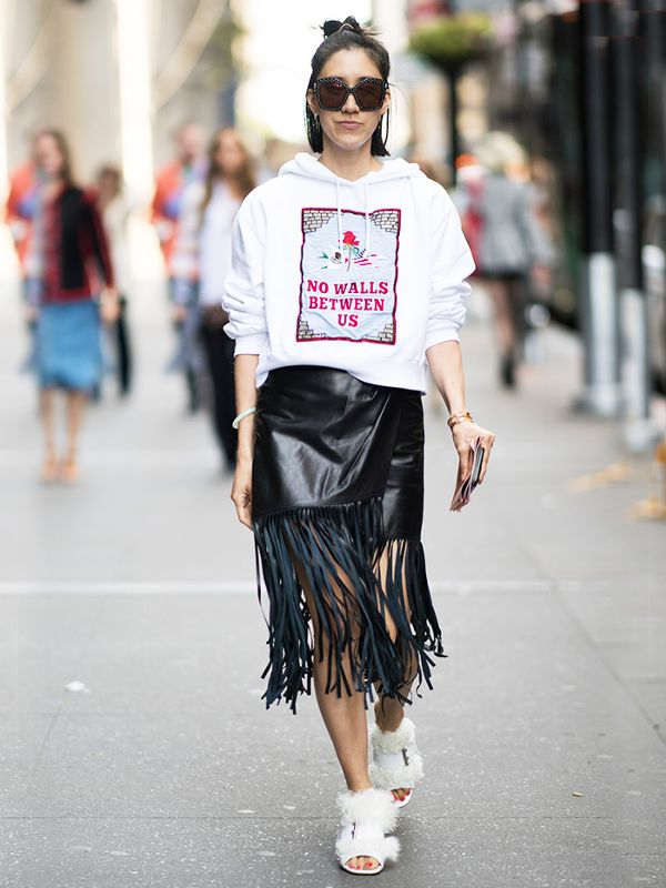 Casual leather skirts with fringes