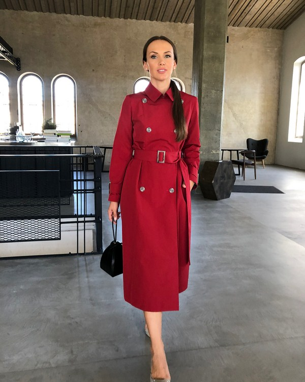 Women red trench coats
