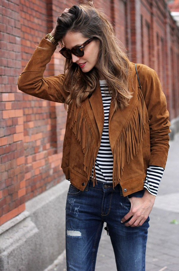 Outfit ideas with suede jacket
