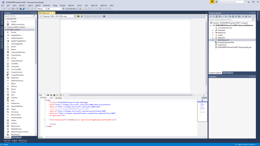 Getting started with XFINIUM.PDF viewer in UWP applications