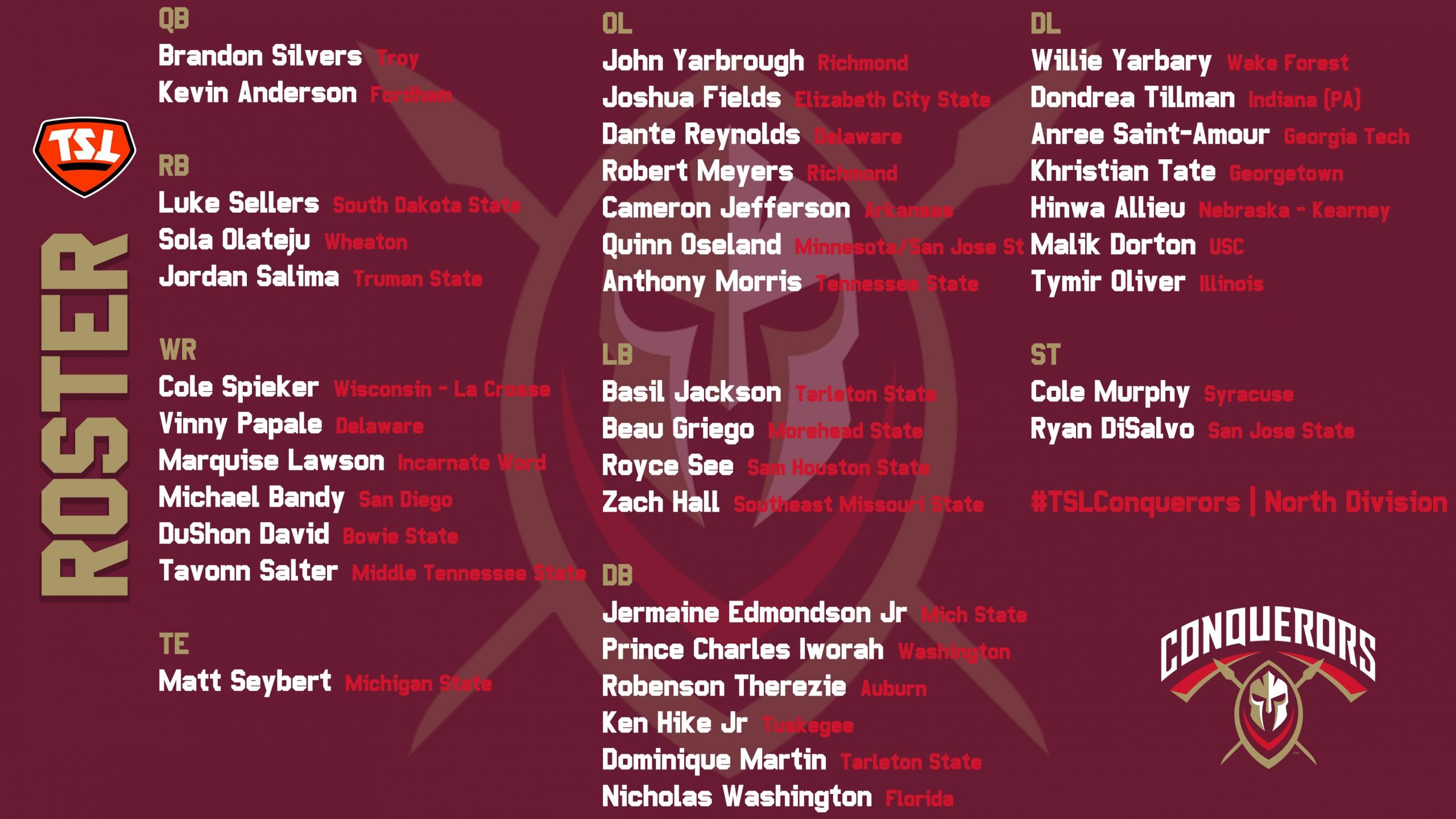 The Spring League Conquerors 2021 Roster