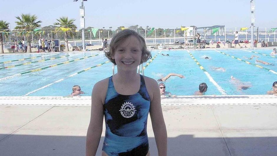 Katie at a pool on Coronado Island, CA in 2006 (age 9)