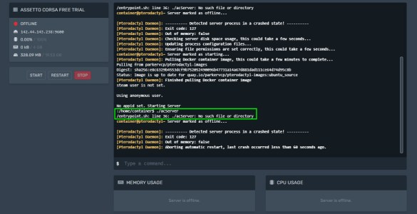 asseto-corsa-server-instial-fail