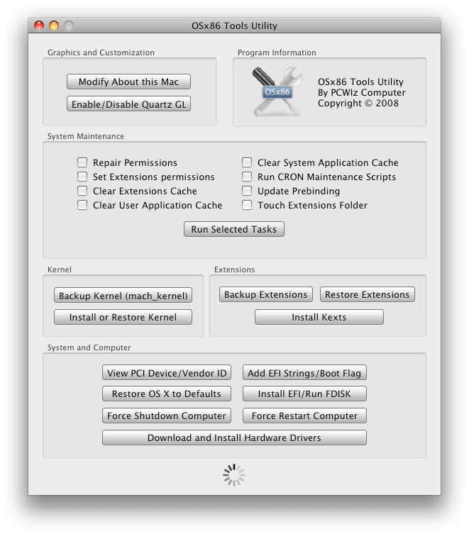 OSX86 Tools Utility