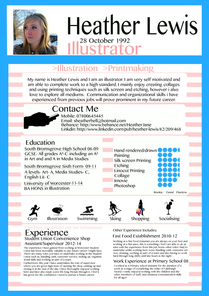 creative resume hobbies