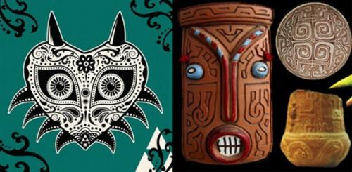La máscara de Majora y sus rasgos de la tribu Marajoara.