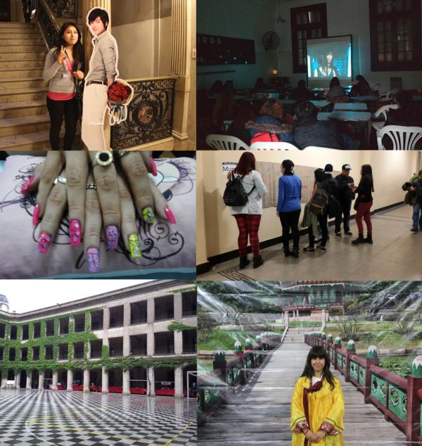 Gigantografías de idols, Sala de cine, Nail Art. Mural del Fan, Stands Comerciales, Prueba de Hanbok