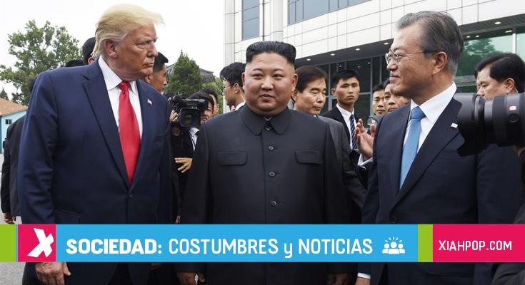 Donald Trump, Kim Jong Un, y Moon Jae In se reúnen en la DMZ