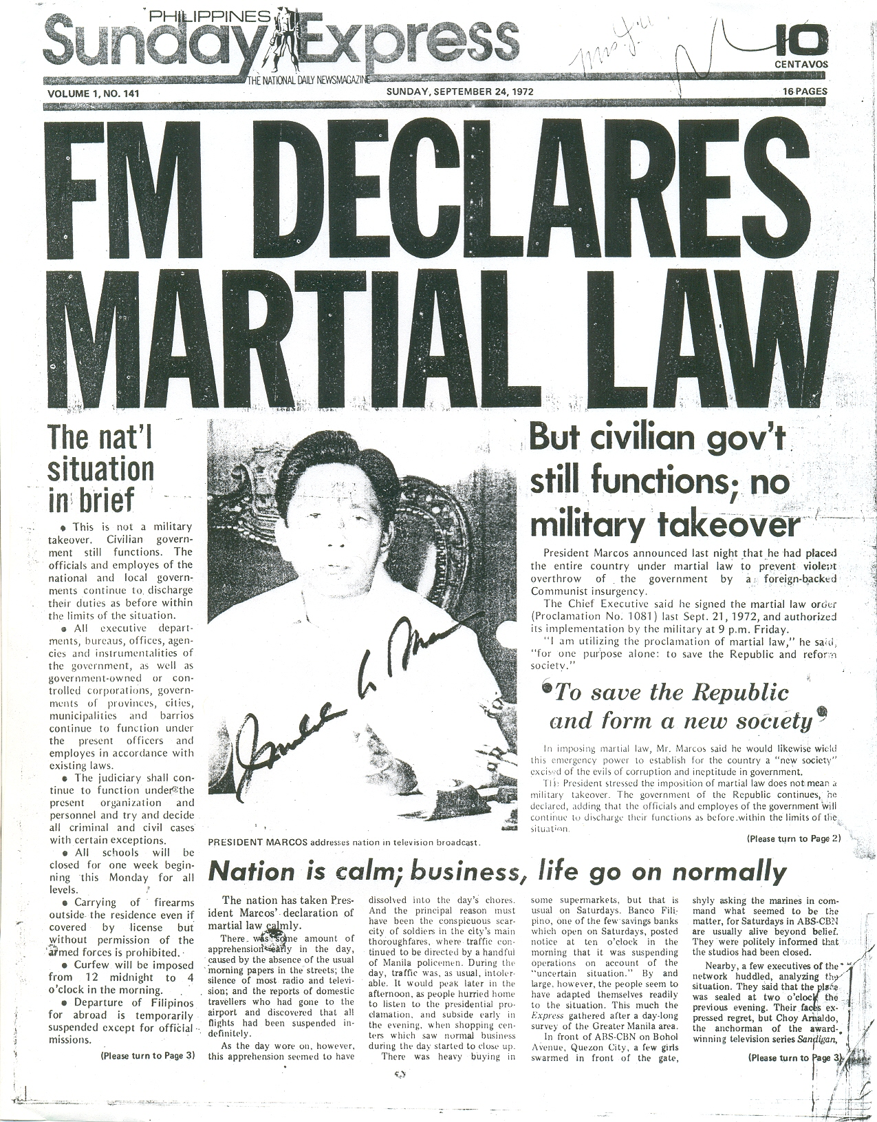 FM DECLARES MARTIAL LAW: You Saw The Most Famous Headline