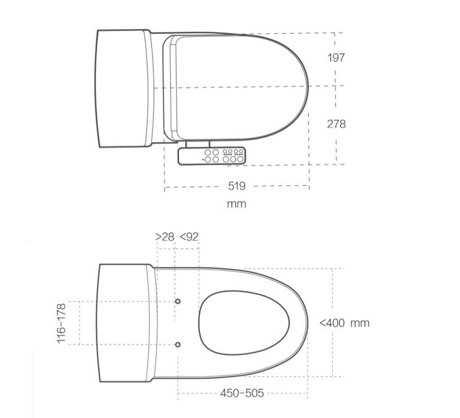 Xiaomi Smart Toilet Cover габариты