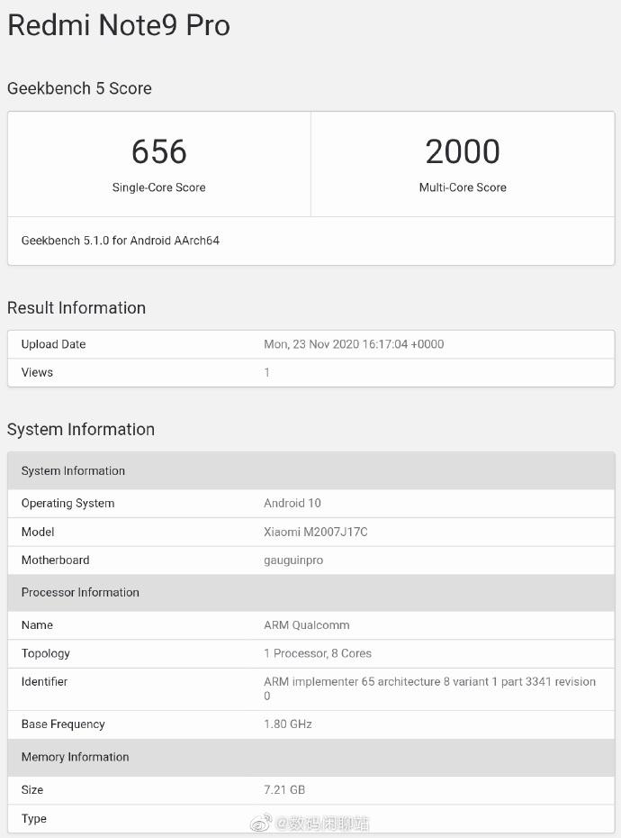 Redmi Note 9 geekbench