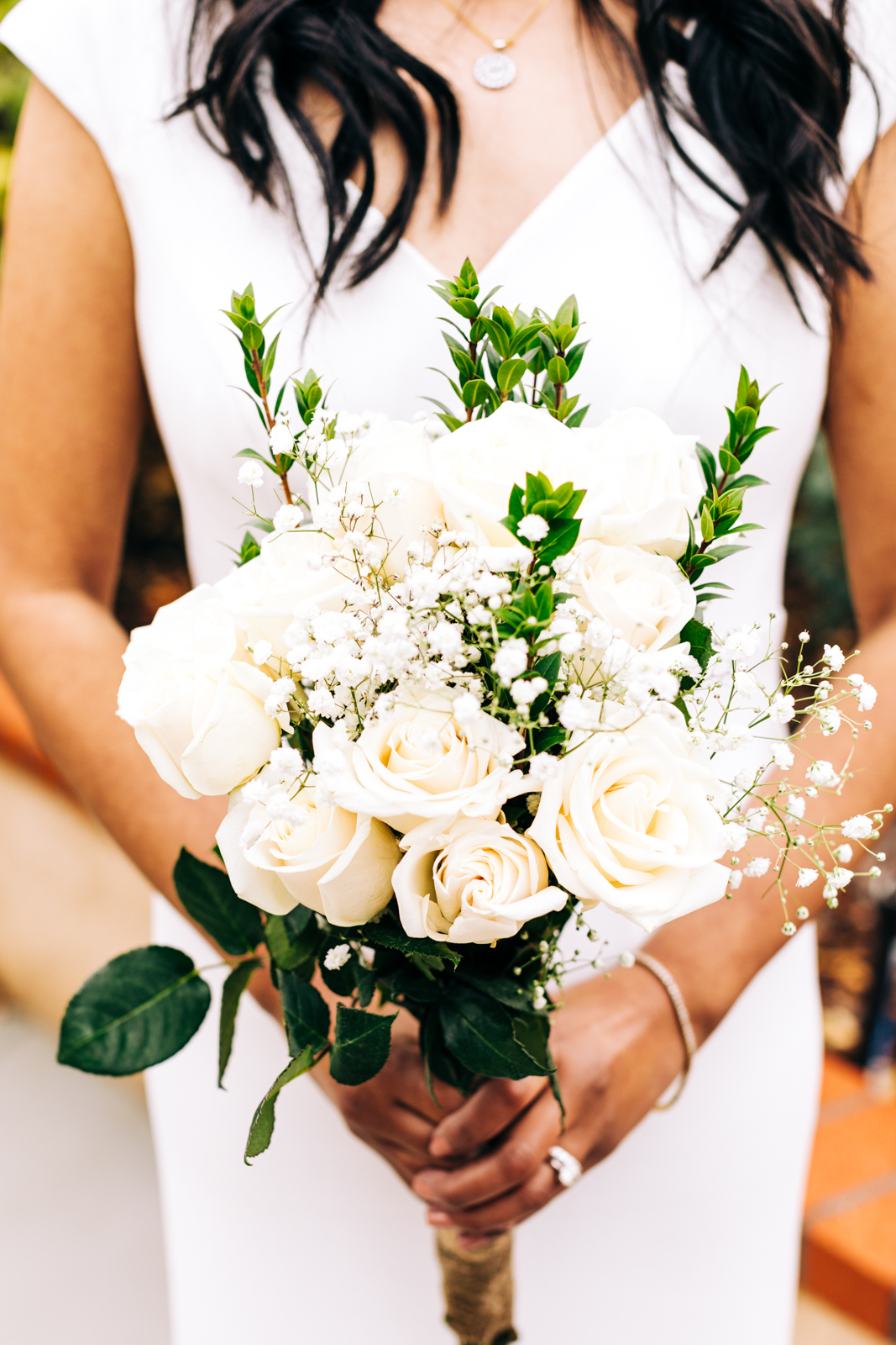 A photo of a bride's bouquet during her micro-wedding.