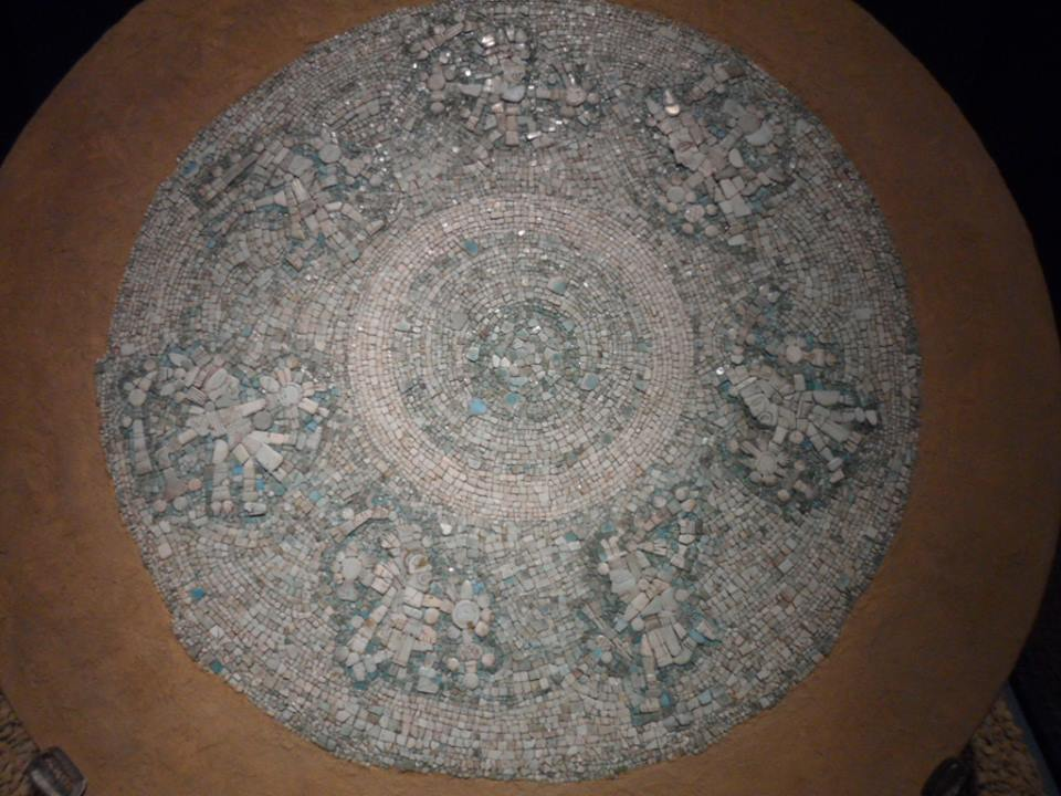 Turquoise disc depicting Mexica cosmos found in Mexico City