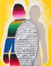 By Alexander Hernandez. My preferred art materials at the moment are scrap fabrics, remnants of unfinished projects, personal belongings, found objects, and traditional textiles. I sew, paint, embroider, layer and patch these mediums together using traditional needlework and DIY crafting techniques. Recently I have been deconstructing Latino masculine troupes and iconography. I dissect these images into smaller pieces then sew them back together creating larger playful artworks. In these pieces I embrace ripped holes, unraveling threads, raw edges and slashes revealing layers of multiple identities; my Mexican heritage, Queer affinity, Rocky Mountain upbringing, gender role expectations, punk and crafty tendencies. Like patchwork, all these different identities come together creating something that is unique, fabulous and complicated.