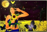 By Gabriela Mercado. The msg in this painting is to let the past go and become your true form. This painting is a Acrylic, self portrait. Based on componentry colors. I have more painting if you wish to see more.