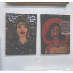 """By Lesley Garcia. First one was a Selena Quintanilla I did for her birthday and second was a random sad girl I painted with the quote """"he's not down to end the racist,misogynistic assholes, instead he's one himself"""""""