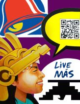 "By Ricardo NACO Gonzalez. This painting is titled ""Live Mas"". It presents the concern of Chicanx culture transforming as less students are researching the culture in Higher education. The QR Code is fully functional and reinforces the meaning of this artwork."