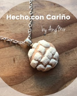 Pan dulce conchas, mexican sweet bread handmade polymer clay pendant necklace